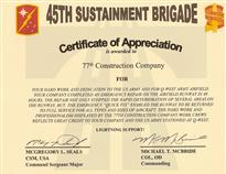 Good CERTIFICATE OF APPRECIATION IS AWARDED TO 77TH CONSTRUCTION COMPANY FOR  YOUR HARD WORK AND DEDICATION TO THE US ARMY AND FOB Q WEST ARMY AIRFIELD.  Army Certificate Of Appreciation